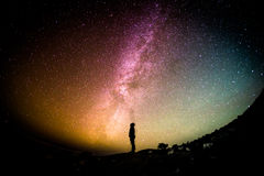 Silhouette of man against Milky Way Stock Images