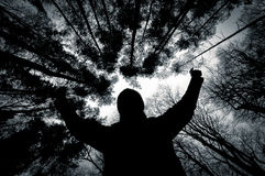 Silhouette of a man against trees in black and white Royalty Free Stock Image
