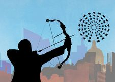 Silhouette of man aiming at the target board against cityscape in background. Digital composition of silhouette of man aiming at the target board against Stock Photos