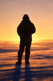 Silhouette of a Man on the Antarctic Plateau. Silhouette of person on the Antarctic polar plateau inland from the research base Casey Royalty Free Stock Photography