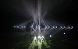 Particles projection and music performance during Sonar festival in Barcelona