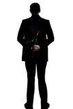 Silhouette man back full length hold rose flower stock images
