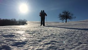 Silhouette of man with a backpack walking in a winter landscape on snowshoes. Trekking with hiking poles, blue sky and. Bright sun. Concept adventure activity stock footage