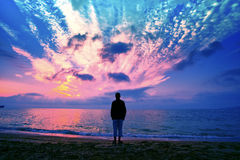 Silhouette of man on the beach Stock Image