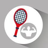 Silhouette man bodybuilder racket tennis Stock Photography