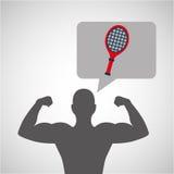 Silhouette man bodybuilder racket tennis Royalty Free Stock Photos