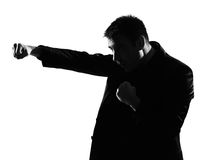 Silhouette  man  boxing gesture Stock Photos