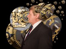 Silhouette of a man with a brain made up of gears or cogs machine parts workings Stock Image