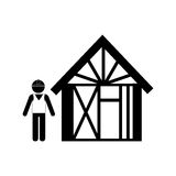 Silhouette man buiding wooden house Royalty Free Stock Photo
