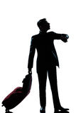 Silhouette man business traveler man checking the time Royalty Free Stock Photo
