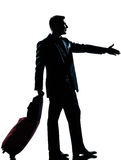 Silhouette man business traveler man handshake Stock Photos
