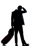 Silhouette man business traveler man sad despair Stock Images