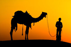 Silhouette of a man and camel at sunset, India. Royalty Free Stock Images