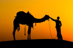 Silhouette man and camel at sunset in India Stock Photos
