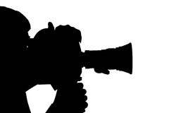 Silhouette of man camera side. Royalty Free Stock Photo