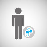 silhouette man capsule medication graphic Royalty Free Stock Images