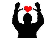 Silhouette of a man in the chains of love. Stock Photography