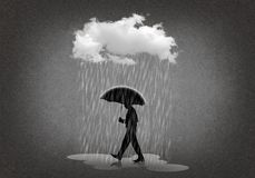 Silhouette of man chased by a cloud. And its rain Stock Photos