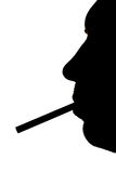 Silhouette of a man with a cig Royalty Free Stock Photography