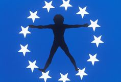 Silhouette of Man in Circle of Stars Stock Photography