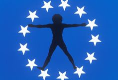 Silhouette of Man in Circle of Stars, United States Royalty Free Stock Photo