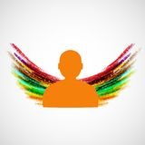Silhouette of man with colored wings. Vector eps10 Royalty Free Stock Photography