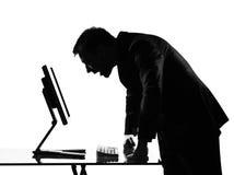 Silhouette  man  computing Royalty Free Stock Photos
