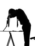 Silhouette  man  computing tired sad Royalty Free Stock Photo