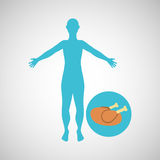Silhouette man concept healthy chicken food icon. Silhouette man concept chicken food icon vector illustration eps 10 Stock Photography