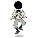 Silhouette-man dancing gangnam style. Silhouette-man dancing in gangnam style with riding horse action Royalty Free Stock Image