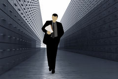 Silhouette Of Man In Data Warehouse Stock Photos