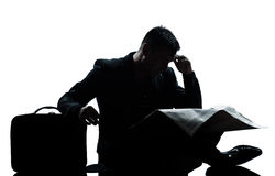 Silhouette man despair full length Royalty Free Stock Photos