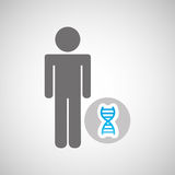 silhouette man with dna molecule science graphic Royalty Free Stock Photography