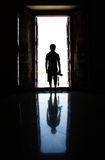 Silhouette man in the door Royalty Free Stock Photo