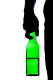Silhouette of man drinking alcohol. Isolated on white background Royalty Free Stock Image