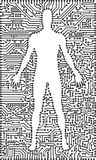 Silhouette of man in an electronic tech background Stock Photos