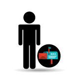 Silhouette man with email mail correspondence. Vector illustration eps 10 Stock Photography