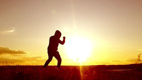 Silhouette of man exercising thai boxing. Silhouette of martial arts man training boxing on the beach over beautiful. Sunset background. Training karate or stock video footage