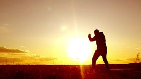 Silhouette of man exercising thai boxing. Silhouette of martial arts man training boxing on the beach over beautiful sunset backgr. Ound. Training karate or stock video