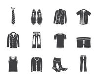 Silhouette man fashion and clothes icons Stock Images