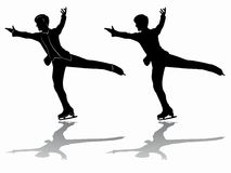 Silhouette man figure skater, vector illustration. Man figure skater sketch. black and white drawing , white background Royalty Free Stock Photography