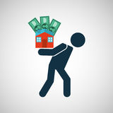 Silhouette man financial crisis house money Royalty Free Stock Images