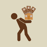 Silhouette man financial crisis house money. Vector illustration eps 10 Royalty Free Stock Photography