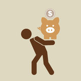 Silhouette man financial crisis piggy coin. Vector illustration eps 10 Stock Photography