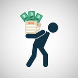 Silhouette man financial crisis taxes money. Vector illustration eps 10 Royalty Free Stock Image