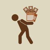 Silhouette man financial crisis taxes money. Vector illustration eps 10 Royalty Free Stock Photos