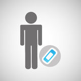 Silhouette man with first aid medical bandage graphic. Illustration eps 10 Stock Photo