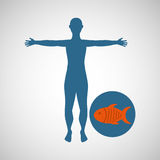 Silhouette man fish food design. Vector illustration eps 10 Stock Photo