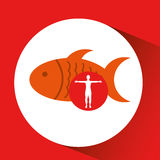 Silhouette man fish food design. Vector illustration eps 10 Royalty Free Stock Image