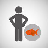 Silhouette man fish nutrition healthy Royalty Free Stock Image